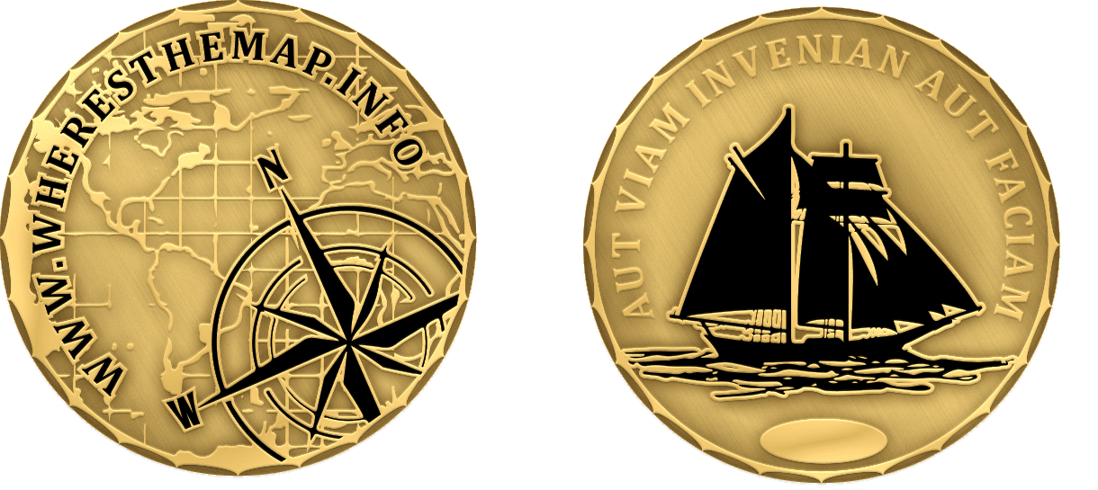 Where's the map is a sailing club and this is their challenge coin