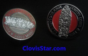 Custom Lapel pins, one made with hard enamel and the other with soft enamel